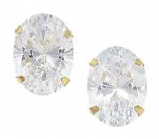 9ct Gold large Oval cut Cubic zirconia stud earrings